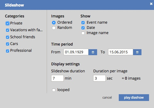 Choose the desired settings to play your customized slideshow.